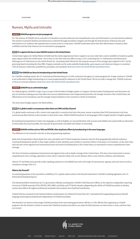 "U.S. Agency for Global Media post ""Rumors, Myths and Untruths"" captured April 15, 2021."