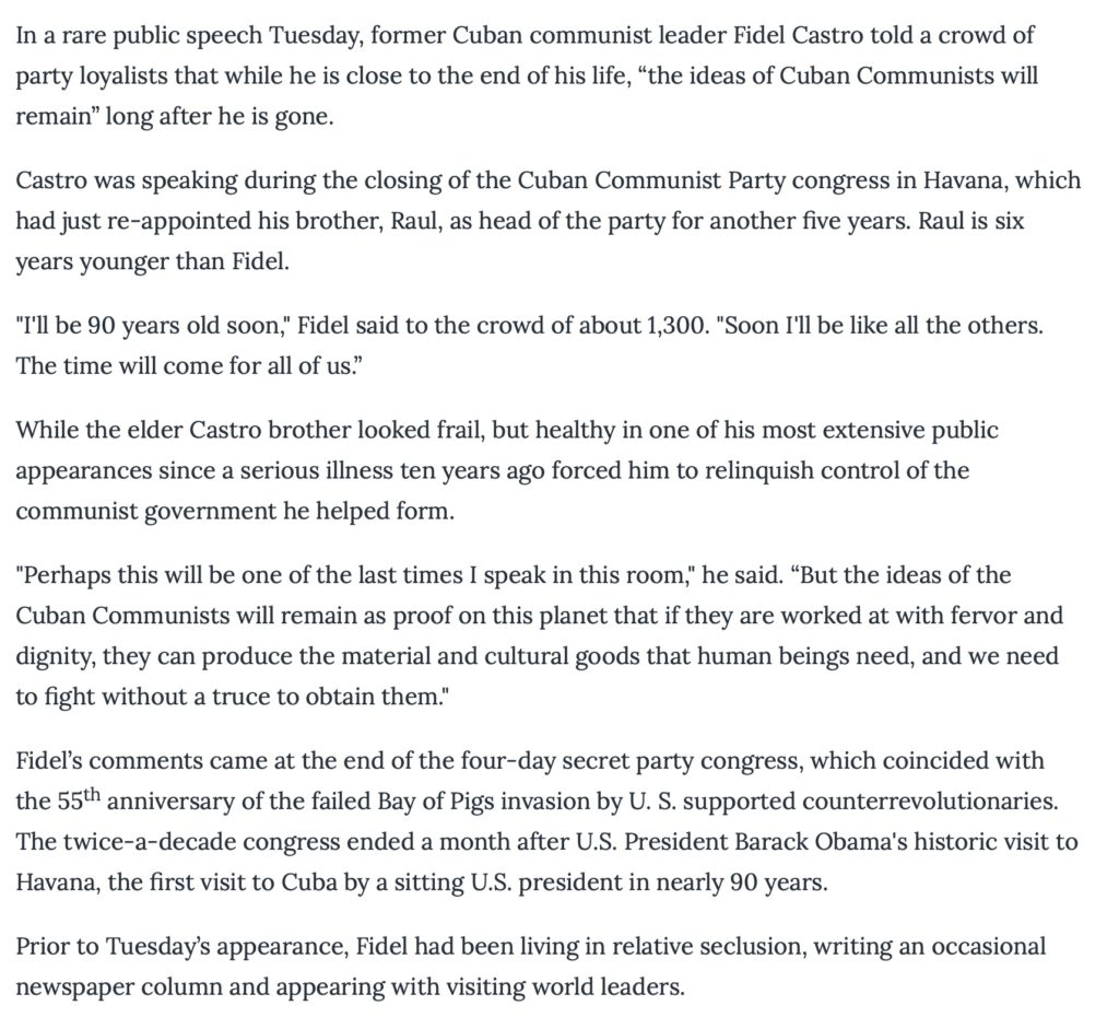 "Voice of America (VOA News English) April-08-2016 report ""Cuba's Fidel Castro Makes A Rare Public Appearance"" Screen Shot 2021-07-29 at 5:13:44 PM. Report."