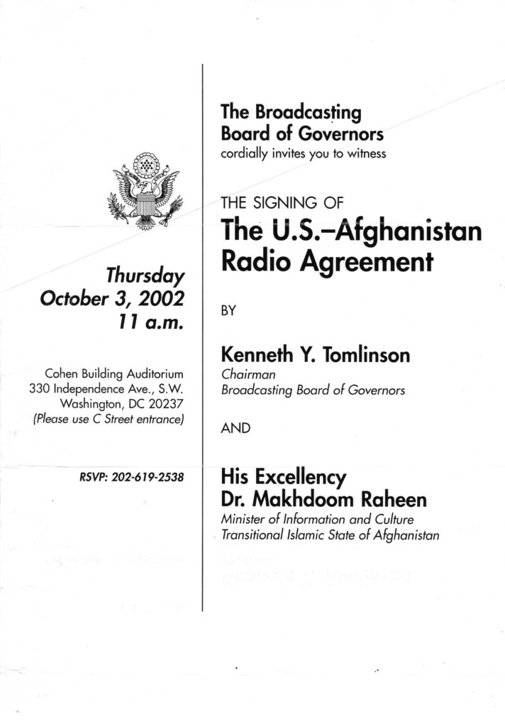 The announcement for the signing of the US-Afghanistan Radio Agreement on October 3, 2002.