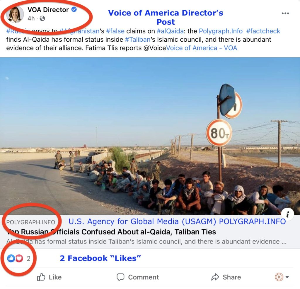 """Voice of America (VOA) Director Yolanda Lopez's Facebook post promoting  Plogygraph.Info post about Afghanistan and Russia – Screen Shot 2021-08-11 at 5.36.35 PM. Two days after being posted, the VOA Director's post shows three (3) """"Likes"""" on August 13, 2021."""