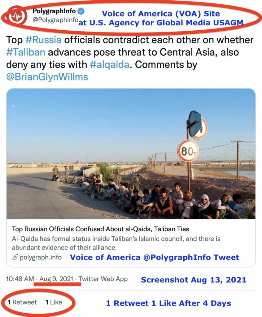 Voice of America (VOA) @PolygrahInfo tweet on Afghanistan and Russia from August 9, 2021 with one (1) Retweet and one (1) Like after-four (4) days – Screen-Shot-2021-08-13-at-5.07.06-PM.